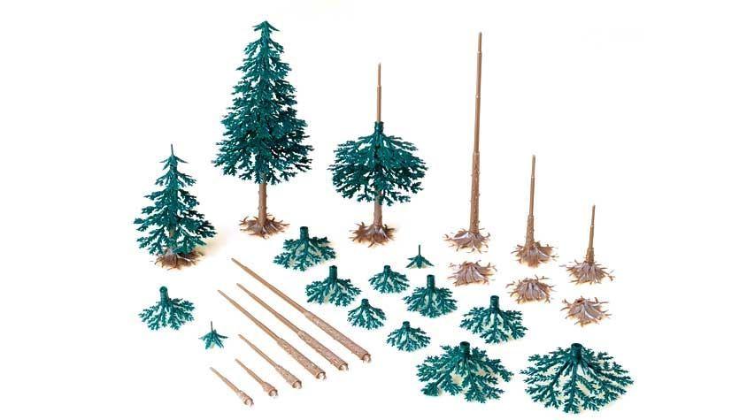 AUHAGEN 71938 — Хвойные деревья (~40—110 мм, 12 шт.), 1:87—1:120